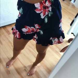 FLORAL BLUE AND PINK SHORTS SMALL ZAFUL